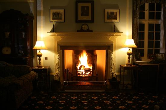 Plas Dinas Country House: Roaring log fire in the Drawing Room