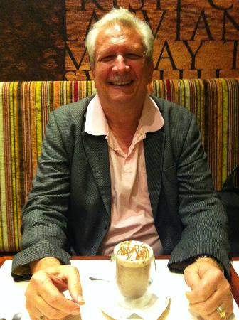 JavaLava Cafe: Does Larry look like the cat who got the cream? (actually the hot chocolate & chocolate soufle!