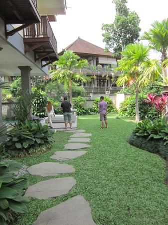 Indira Cottage: path to the pool