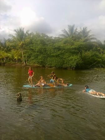 Agua Vida Surf: Dominical Guapil river kid paddle fun time!