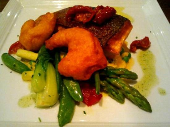 Dalmore Inn and Restaurant: Roast Fillet of Salmon - Pea and saffron risotto with a prawn tempura, tomato & herb dressing