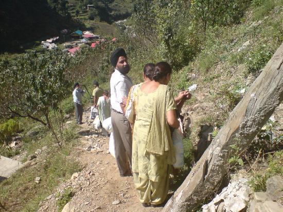 Rajgarh, India: Down path to camp