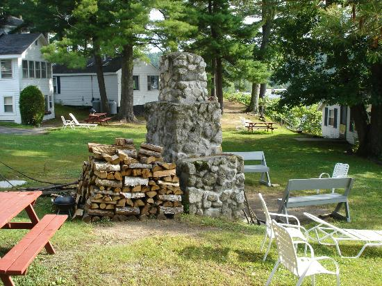Sebago Lake Lodge & Cottages: the fire pit where guests meet at night.