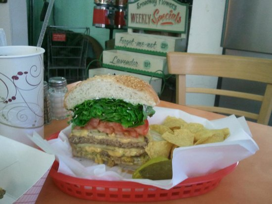 Sebastian's Cafe: My half of the double cheeseburger with everything W/Avocado