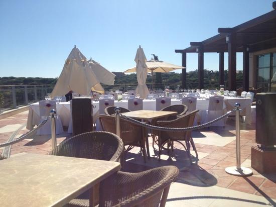 Grande Real Santa Eulália Resort & Hotel Spa : most of terrace bar set up for a wedding