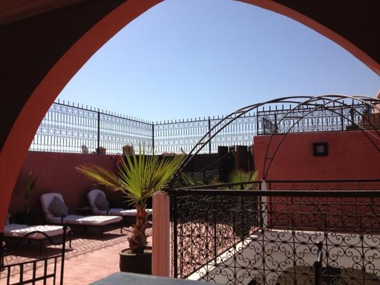 Upstairs on the roof terrace at the Riad Elizabeth