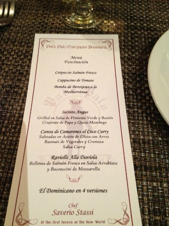 El Embajador, a Royal Hideaway Hotel: Restaurant Menu in Pata de Palo