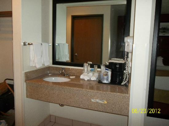 Holiday Inn Express Watertown: Sink separate from toilet and shower
