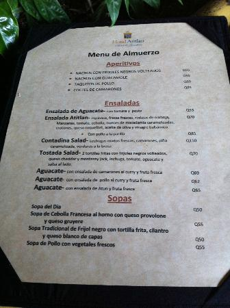 Hotel Atitlan Restaurant: Lunch Menu Part 1