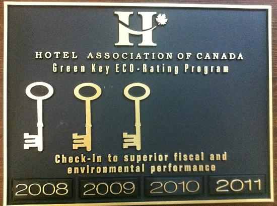 New Horizon Motel: 3 Green Keys in ECO Rating Program by Hotel Association of Canada