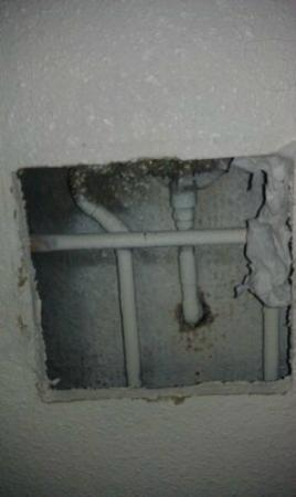 Days Inn Mesa East: exposede pipes 2 ft from the bed