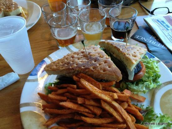 Whiskey Creek: Grilled Portabella Sandwich with Sweet Potato Fries and a Sampler of Beers