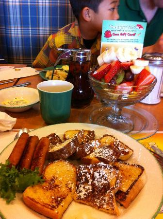 Cora - Sunridge Mall: french toast with sausage and fruits