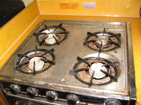 Karibu Park Cottages & Campground: the stove (yuck!!)