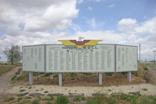Minidoka Internment National Monument: Honor roll sign of Japanese Americans who fought in WWII