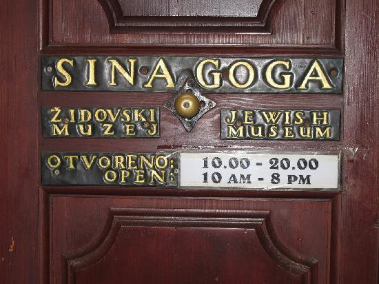 Synagogue opening times, Dubrovnik
