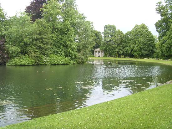 Northampton, UK: The Oval Lake, with Diana's memorial in the background.