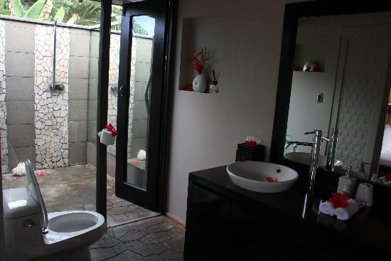 Taveuni Palms Resort: master bathroom/showers, lower villa