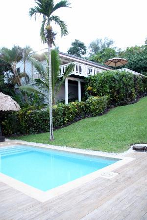Taveuni Palms Resort: the pool and villa (lower)
