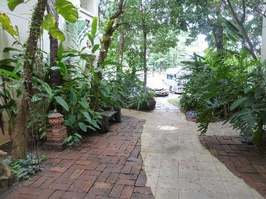 River Resort & Spa: Leafy pathway out to the parking lot