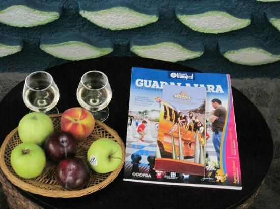 Hotel Boutique la Cofradia: Tequila 'welcome tasters' in room