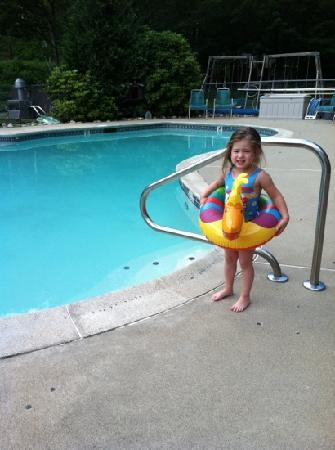 Maple Lodge Cabins and Motel: my baby ready to get in the pool!!