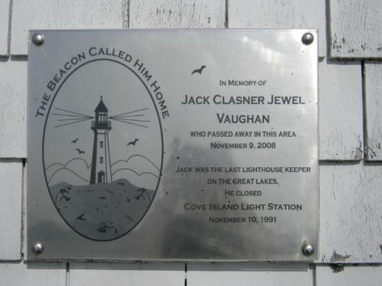 Lion's Head Lighthouse: Dedication Plaque