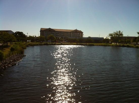 Holiday Inn Express Ocean City : View of hotel from Northside Park lagoon footbridge