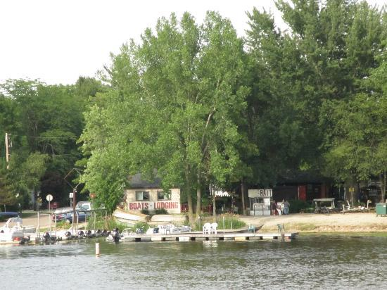 Larry & Jans Resort: The resort from across the Wolf River