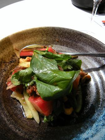 Cocochan : confit duck salad with watermelon