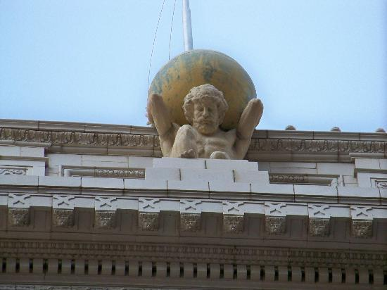 Courtyard Tulsa Downtown: Art Deco work of Atlas on the crown of the Atlas Life Building