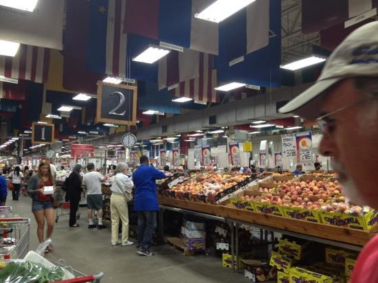 Your Dekalb Farmers Market: Aisles of dry goods, produce, meats, dairy, and seafood products!