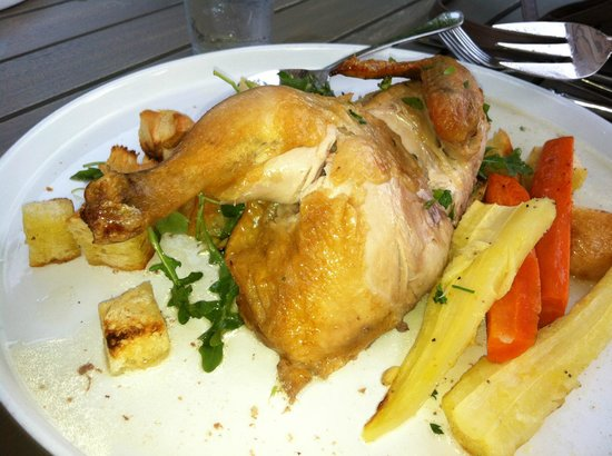 Carriage House Dining Room & Gardens: petite chicken is half a chicken $18