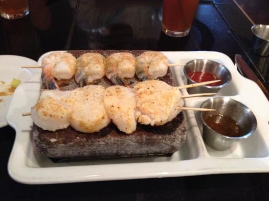 "Anasazi Steakhouse & Gallery : Shrimp & scallops ""on the rock"""
