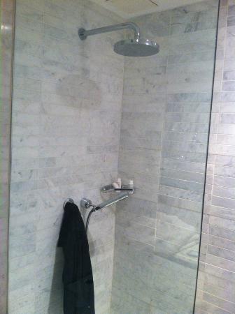 McCarren Hotel & Pool: marble tiled rainfall shower w/ body spray 