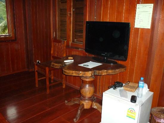 Mekong Charm Guest House: The TV and fridge