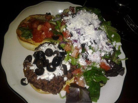 Reds Corner Restaurant and Lounge : Greek burger and salad, 10.99 on the menu.