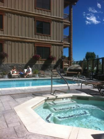 Teton Mountain Lodge & Spa- A Noble House Resort: there is an outdoor and indoor pool with hot tub. Also a roof top hot tub for 24 or so!