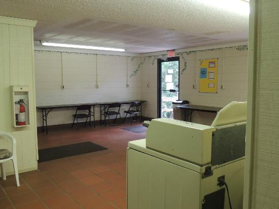 North Beach Camp Resort: Tables in the Laundry Area for using the Wi-Fi after lobby is closed