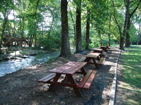 Hampton Inn Helen: Great picnic area on the river behind the Hampton