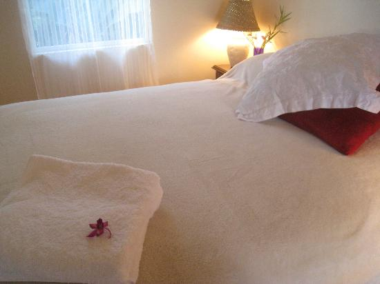 The Lotus Garden Hilo: Our pillow top queen bed in the master bedroom