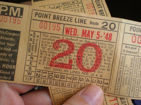 Baltimore Streetcar Museum: Vintage tickets you can take home