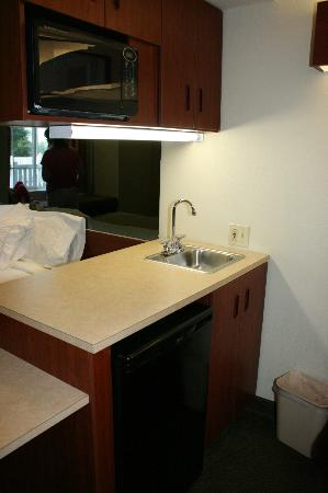 Microtel Inn & Suites by Wyndham Starkville: sink, microwave area
