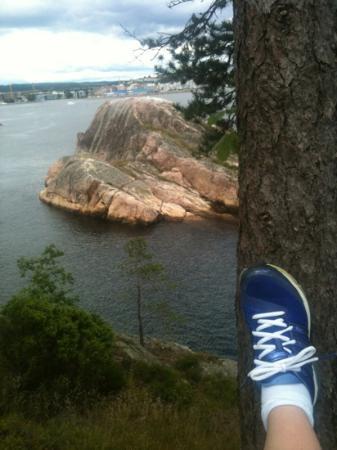 Odderoya: utsikt fra Odderøya med joggesko