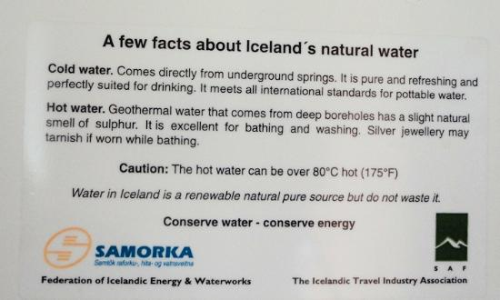 Hotel Geysir: Yes, you *can* drink the water!