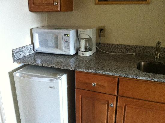 Camelot Motel: Kitchenette with granite countertop