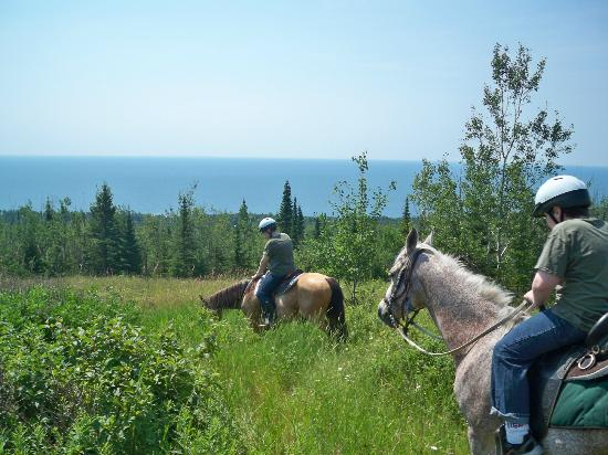 Sawtooth Mountain Stables: That is the lake in the background