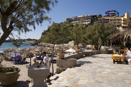Vasilikos Beach: Mavratzis beach with hotels above