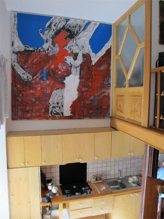 B&B Il Sambuco: kitchen corner, view from stairs towards bedroom