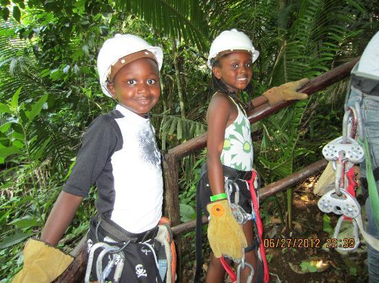 Belize Zip Line Canopy Tours: Kids enjoying the lines